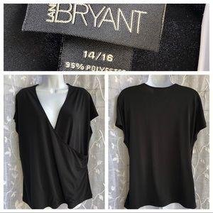 Lane Bryant• Faux Wrap black blouse- 14/16